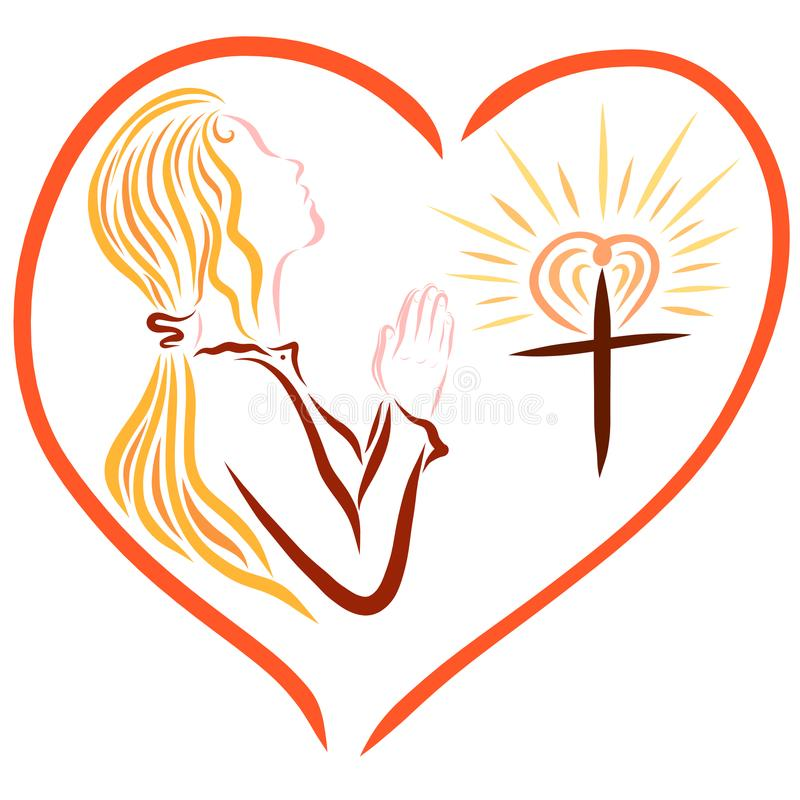 Une jeune dame de prière et une croix chrétienne brillante, encadrées en Th illustration stock