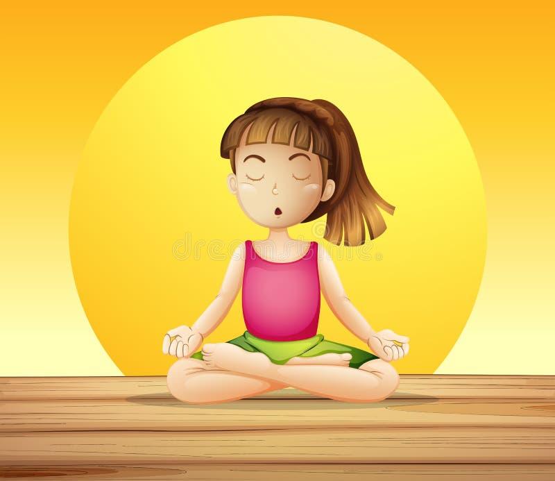 Une jeune dame faisant le yoga illustration libre de droits