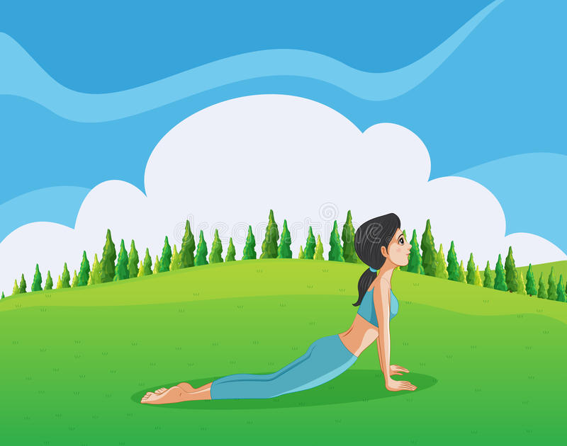 Une jeune dame faisant le yoga au sommet illustration stock