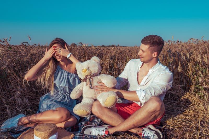 Une jeune femme d'homme de couples, champ de blé d'été, sourire heureux donne un cadeau, ours de jouet, concept de repos d'amour, photo libre de droits