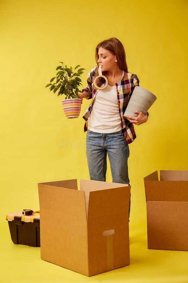 Une jeune femme se tient avec une fleur et un pot dans des ses mains entre les boîtes en carton pour le déplacement Place mobile  image libre de droits
