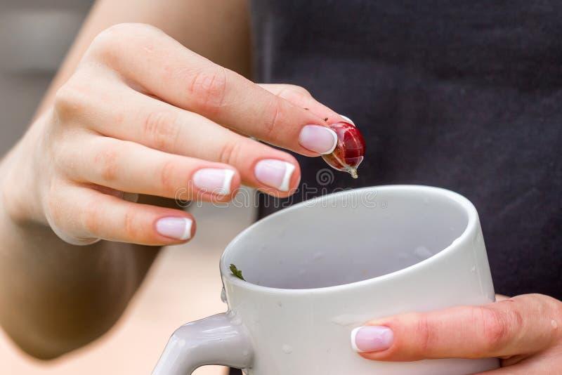 Une jeune femme tient une tasse et une baie de groseille à maquereau La femme mange le gooseberry_ image libre de droits