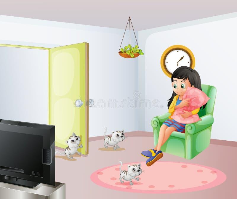 Une jeune fille à l'intérieur de la salle avec ses animaux familiers illustration stock