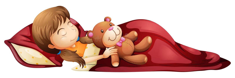 Une jeune fille dormant solidement avec son jouet illustration de vecteur