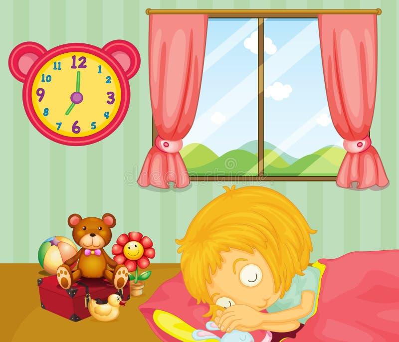 Une jeune fille dormant solidement dans sa chambre à coucher illustration de vecteur