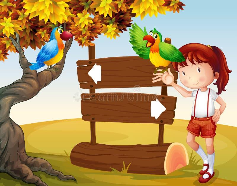Une jeune fille et ses perroquets près de l'enseigne illustration libre de droits