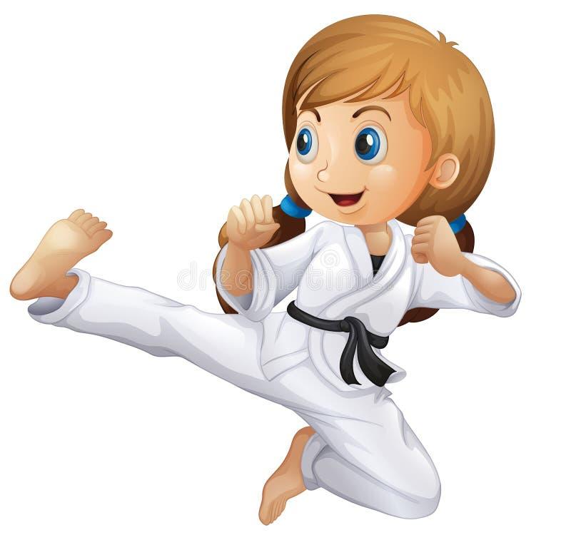 Une jeune fille faisant le karaté illustration stock