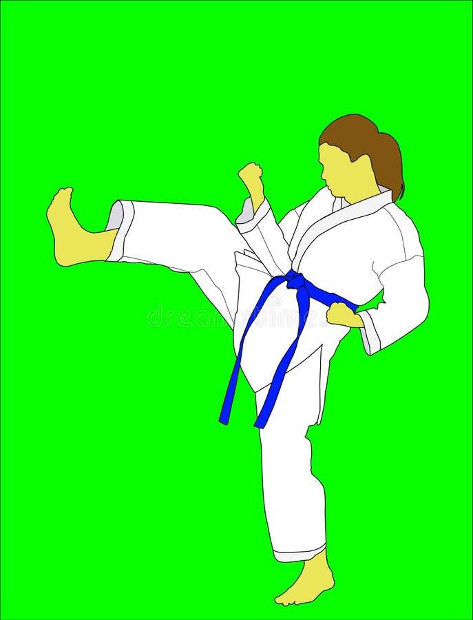 Une jeune fille fait un coup-de-pied dans un kimono blanc avec une ceinture bleue illustration libre de droits