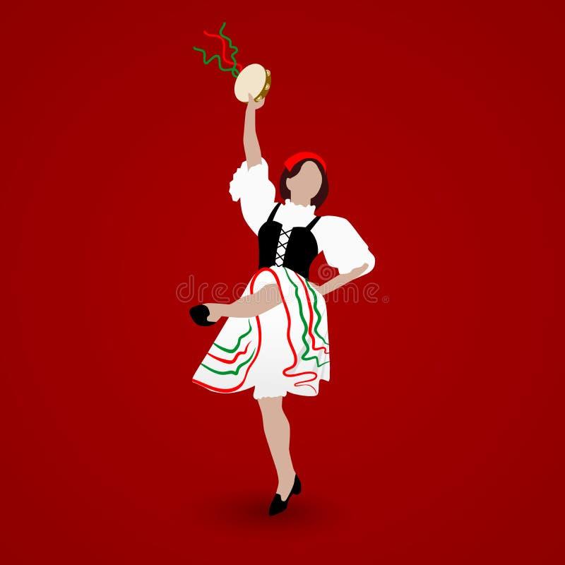 Une jeune fille habillée dans un costume national dansant une tarentelle italienne avec un tambour de basque sur le fond rouge illustration libre de droits
