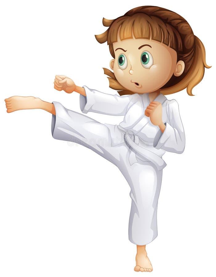 Une jeune fille lui montrant des mouvements de karaté illustration libre de droits
