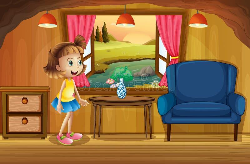 Une jeune fille mignonne dans une cabane dans un arbre illustration libre de droits