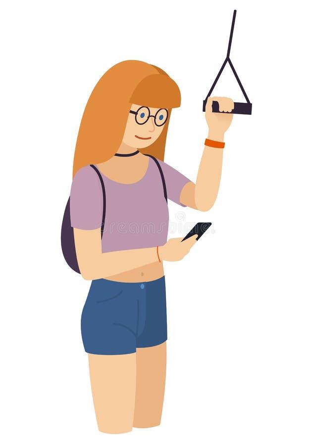 Une jeune fille regarde un smartphone dans le transport en commun, tenant et tenant la balustrade, vecteur d'isolement images stock