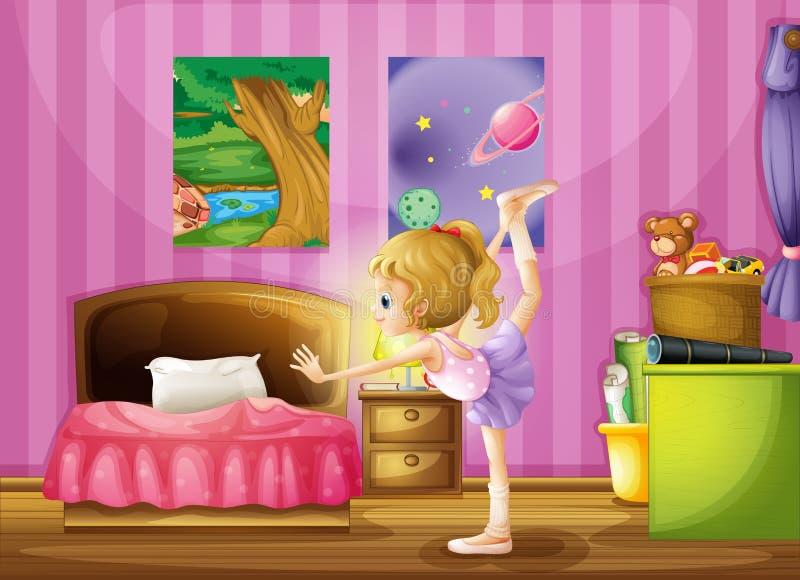 Une jeune fille s'exerçant dans sa chambre illustration de vecteur