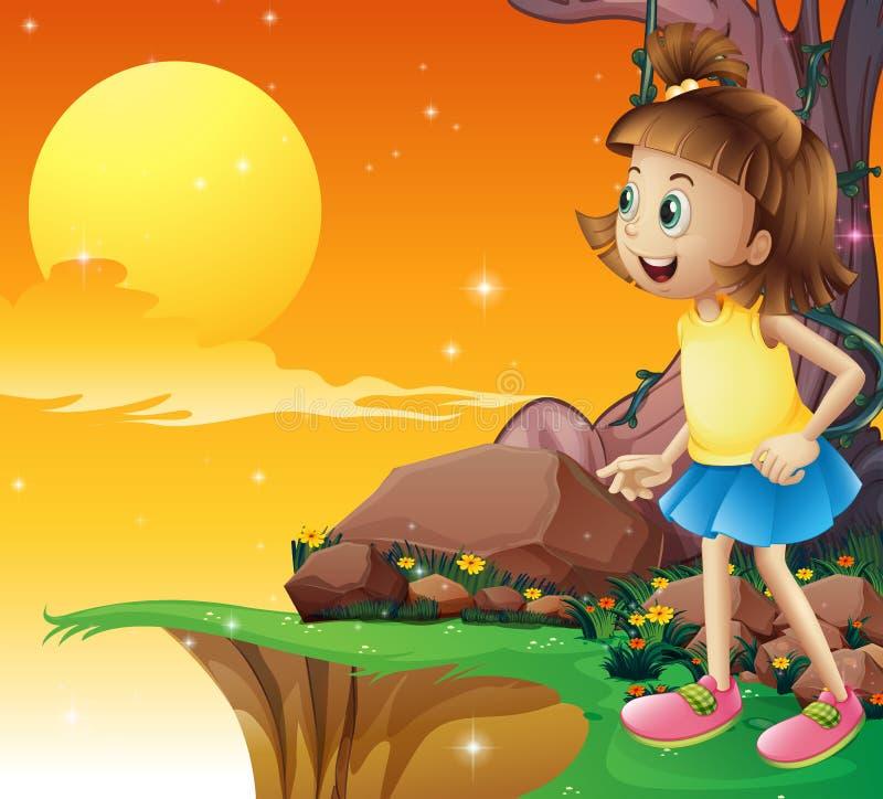 Une jeune fille stupéfaite par le ciel illustration stock