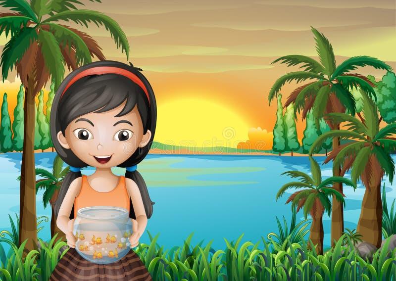 Une jeune fille tenant un aquarium illustration libre de droits