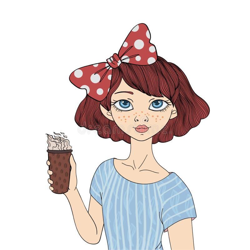 Une jeune fille tenant une tasse de café Dirigez l'illustration de portrait, d'isolement sur le fond blanc illustration stock