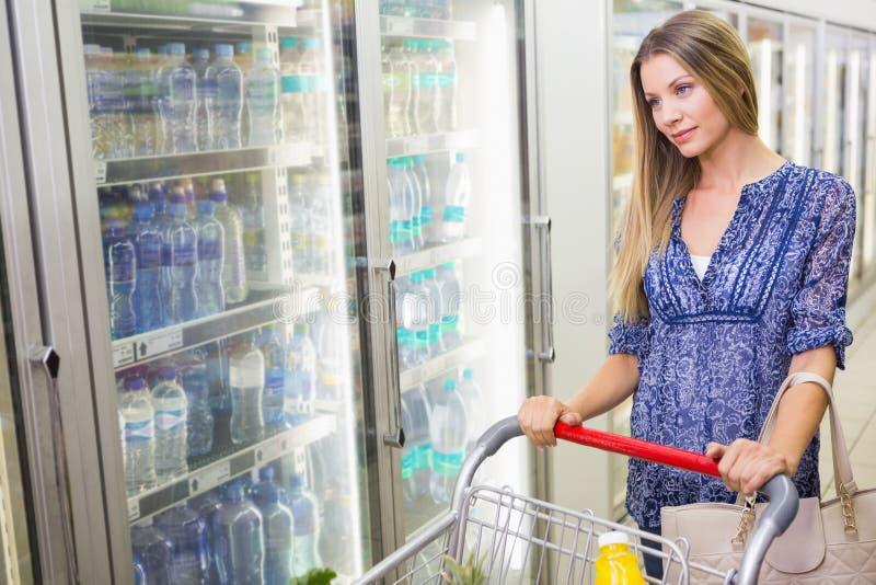 Download Une Jolie Femme Blonde De Sourire Achetant Les Produits Congelés Image stock - Image du boisson, sourire: 56490621