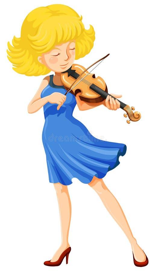 Une jolie fille jouant le violon illustration de vecteur