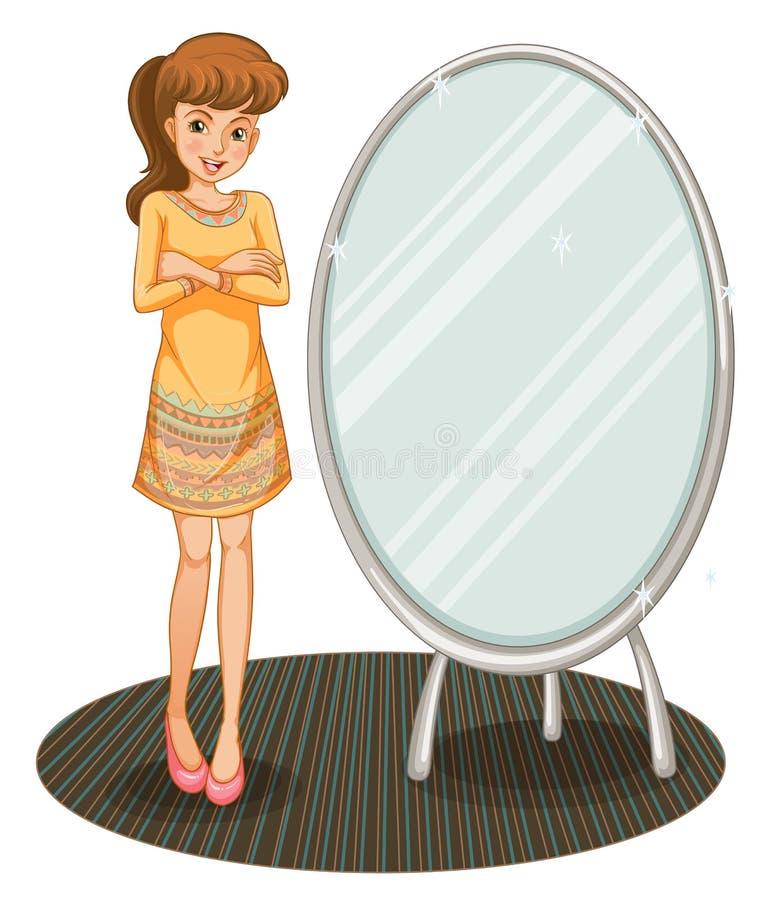 Une jolie fille près d'un miroir illustration libre de droits