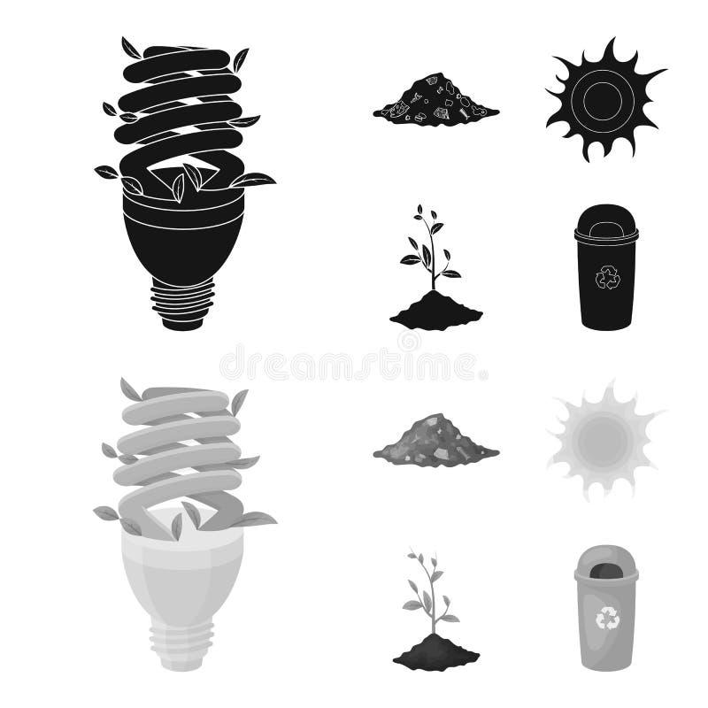 Une lampe écologique, le soleil, une décharge de déchets, une pousse de la terre Icônes réglées bio et d'écologie de collection d illustration stock