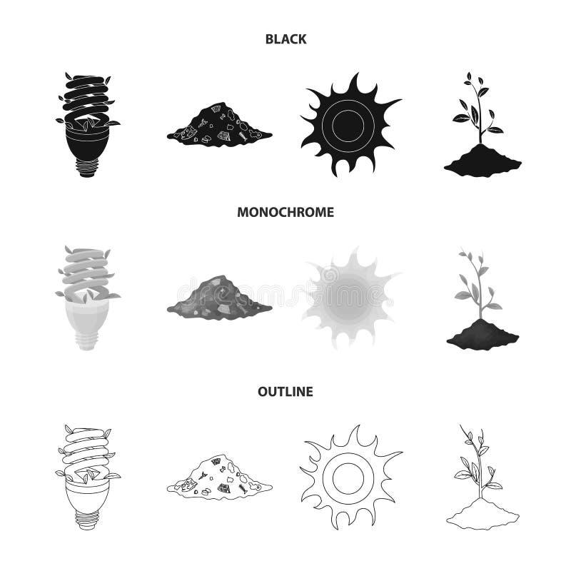 Une lampe écologique, le soleil, une décharge de déchets, une pousse de la terre Icônes réglées bio et d'écologie de collection d illustration de vecteur
