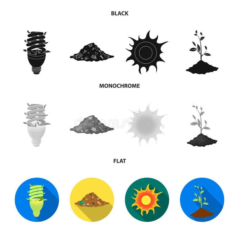 Une lampe écologique, le soleil, une décharge de déchets, une pousse de la terre Icônes réglées bio et d'écologie de collection d illustration libre de droits