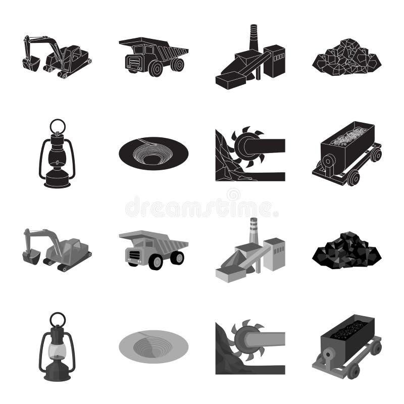 Une lampe de mineur, un entonnoir, un cartel d'exploitation, un chariot avec du minerai Icônes réglées de collection d'industrie  illustration de vecteur