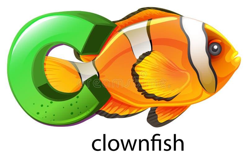 Une lettre C pour des clownfish illustration de vecteur