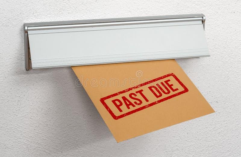 Une lettre estampillée Échéance passée dans un créneau de courrier images stock