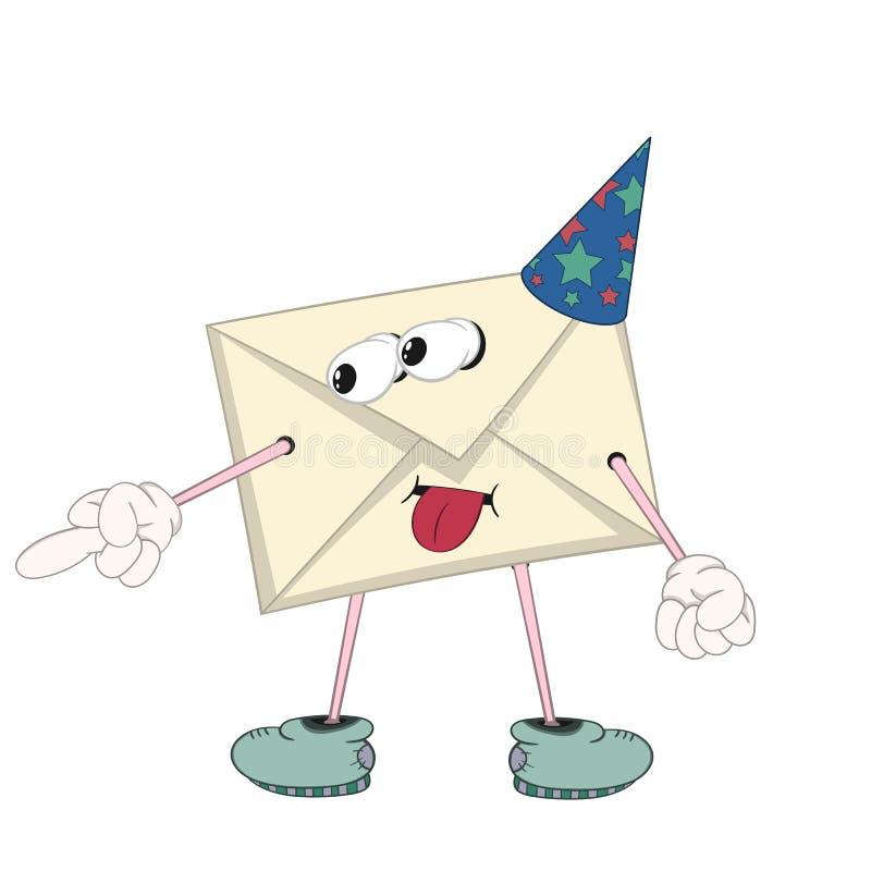 Une lettre jaune de bande dessinée drôle dans un chapeau de fête avec des yeux, des bras, des jambes et la bouche est taquinée et illustration de vecteur