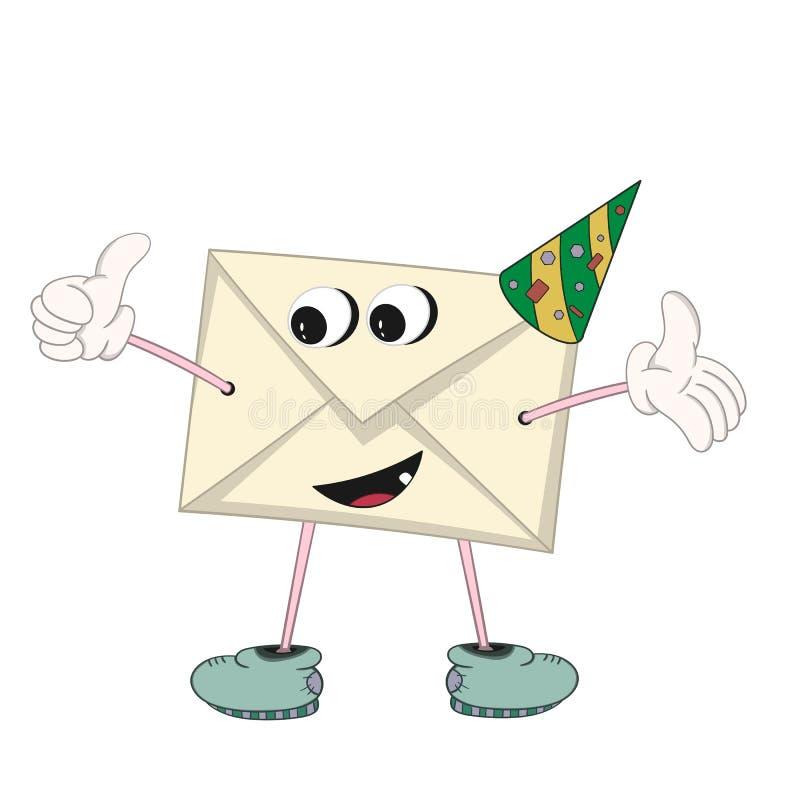 Une lettre jaune de bande dessinée drôle dans un chapeau de fête avec des yeux, des mains, des pieds et la bouche montre un geste illustration de vecteur