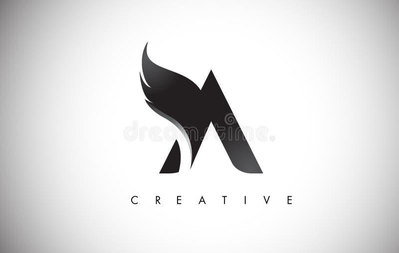 Une lettre s'envole Logo Design avec la mouche noire Wing Icon d'oiseau illustration stock