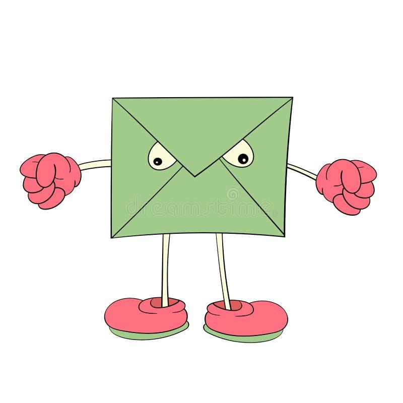 Une lettre verte avec des yeux montre l'émotion de colère, un dessin de bande dessinée, une icône, une caricature illustration de vecteur