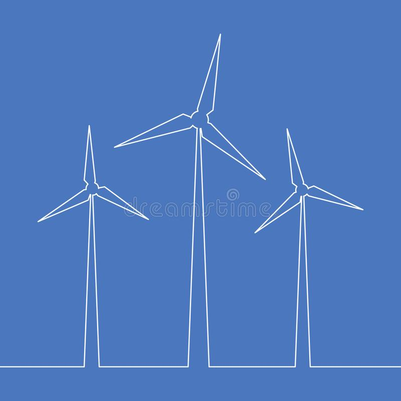 Une ligne continue concept d'énergie de turbine de vent illustration libre de droits