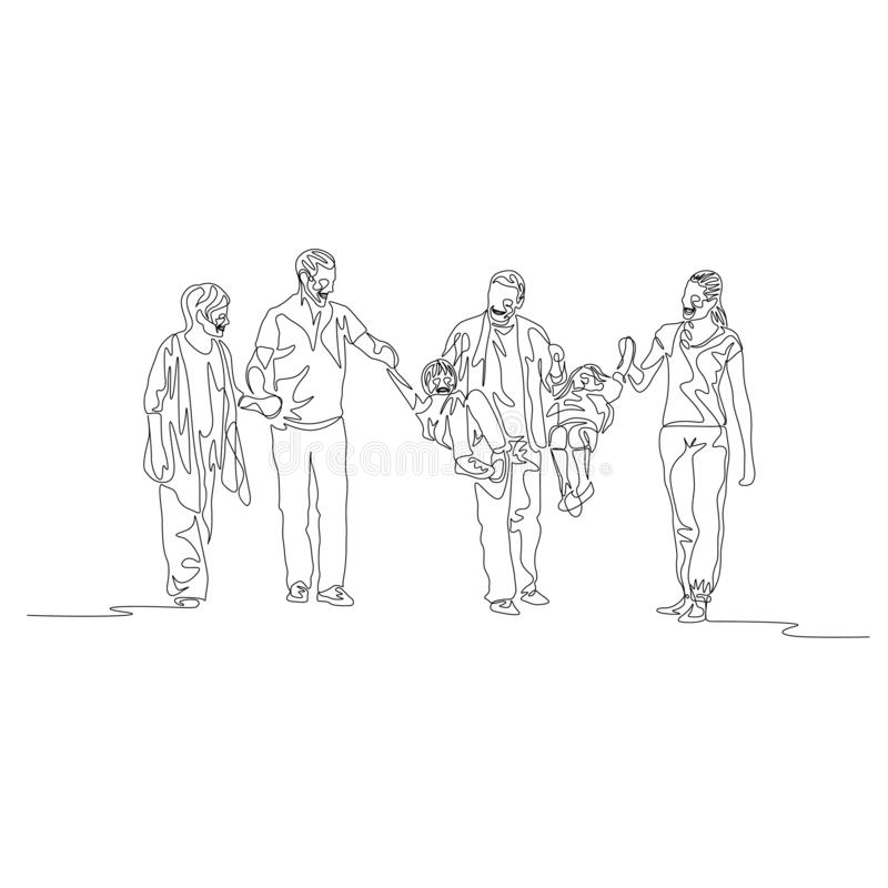 Une ligne continue génération multi de famille, parents balançant des enfants illustration stock