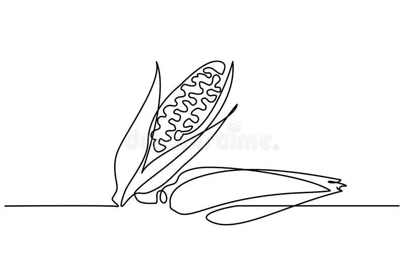 Une ligne continue maïs des légumes deux d'aspiration illustration de vecteur