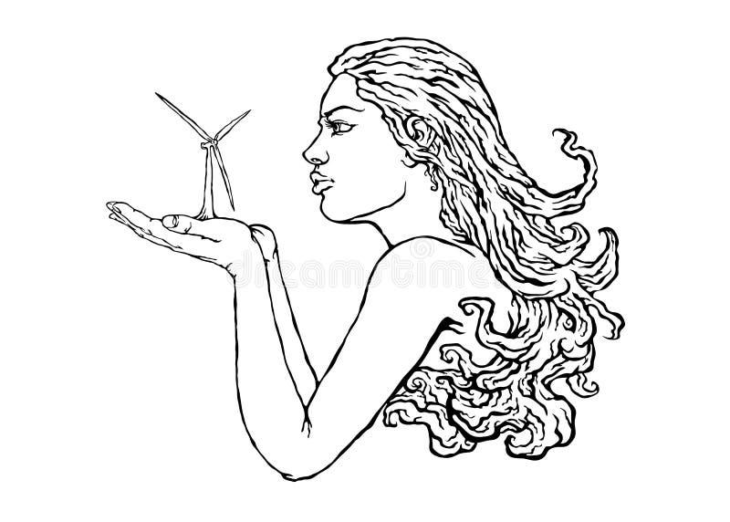 Une ligne continue soufflement dessiné de fille illustration stock