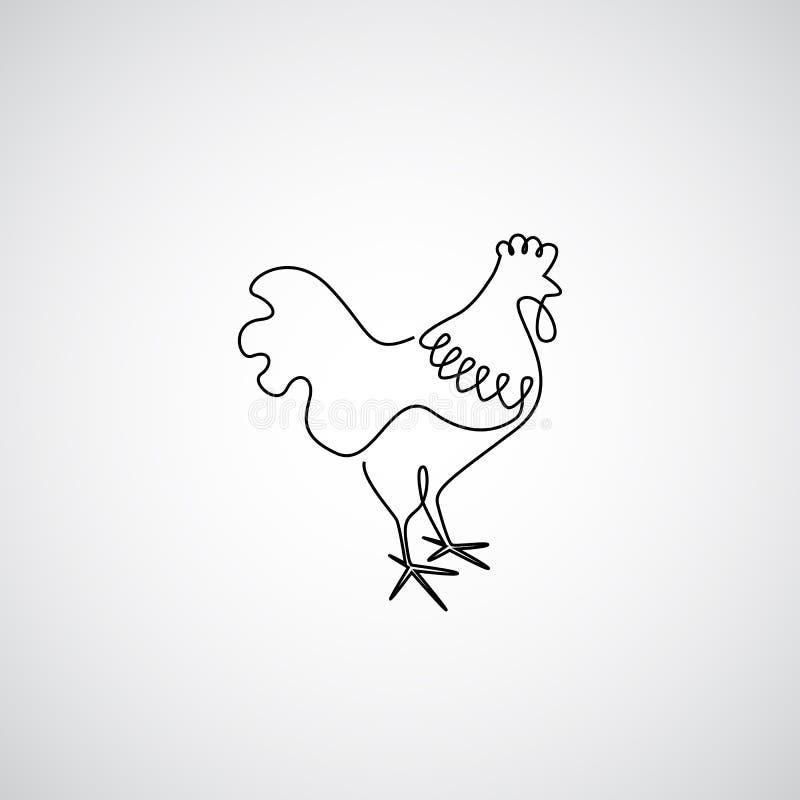 Une ligne coq illustration stock