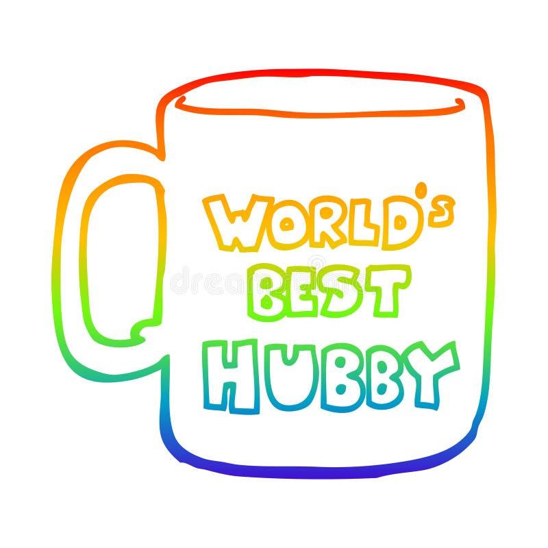 Une ligne de dégradé arc-en-ciel créative dessinant les mondes les mieux hubby mug illustration libre de droits