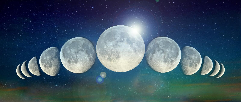 Une ligne des lunes images libres de droits