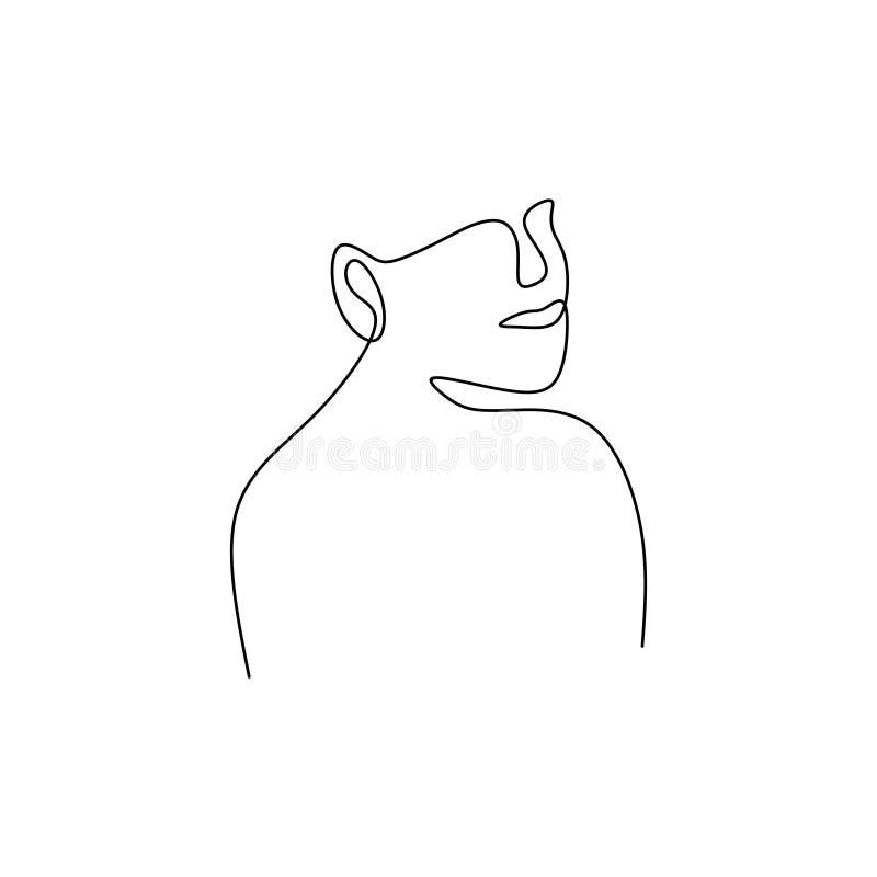 une ligne dessin continu de la conception minimaliste d'abrégé sur visage illustration de vecteur