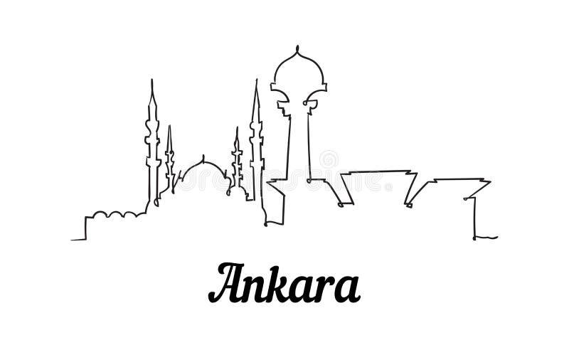 Une ligne horizon d'Ankara de style Style minimalistic moderne simple illustration de vecteur