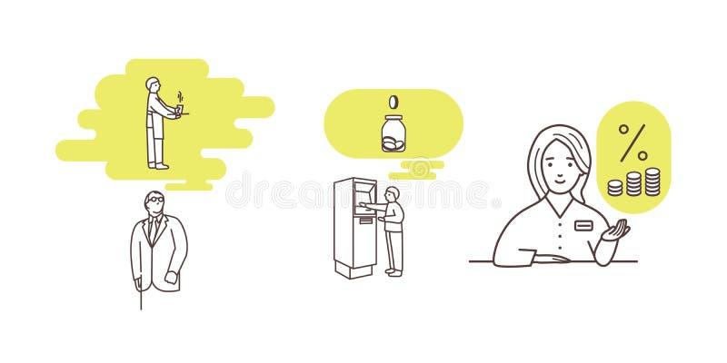 Une ligne illustration minimalistic moderne de l'accumulation, finances, encaissant illustration libre de droits