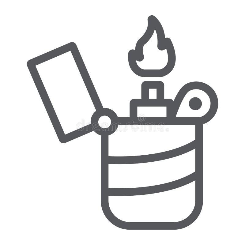 Une ligne plus légère icône, un feu et une brûlure, signe de flamme, graphiques de vecteur, un modèle linéaire sur un fond blanc illustration de vecteur