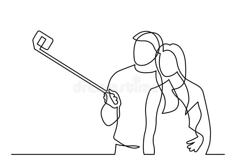 Une ligne selfie illustration libre de droits