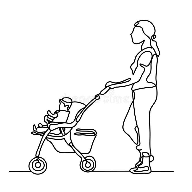 Une ligne tracée continue femme avec une poussette tirée de la main une photo de la silhouette Schéma caractère illustration de vecteur