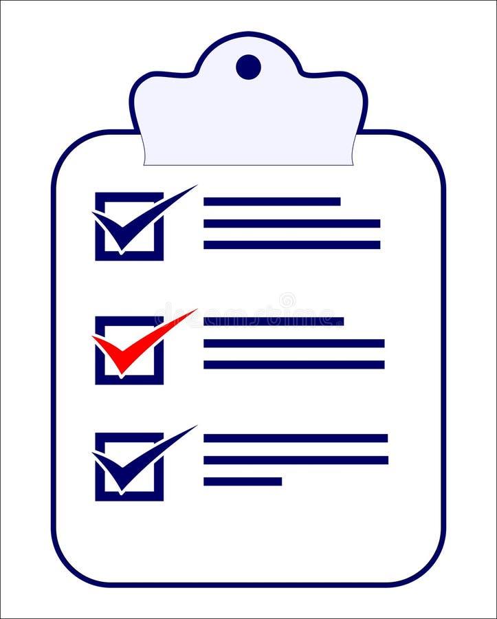 Une liste de contrôle avec des tâches de faire illustration stock