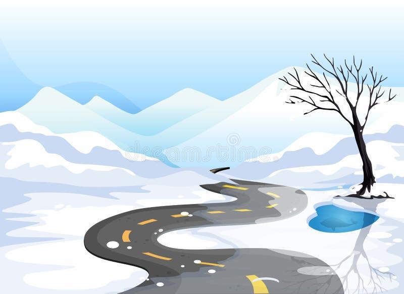 Une longue route à l'endroit neigeux allant aux montagnes illustration de vecteur