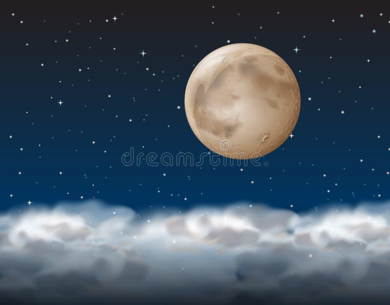 Une lune au-dessus du nuage illustration de vecteur
