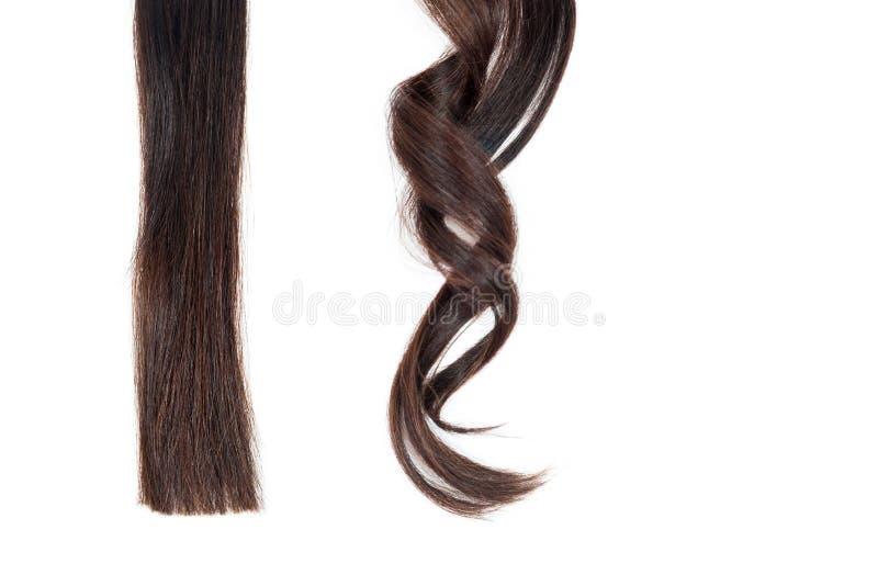 Une mèche des cheveux droits et de la boucle sur l'isolat blanc image stock